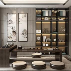 新中式茶室 3D模型【ID:641356109】