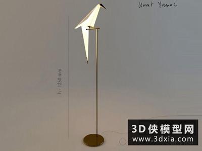 现代纸鹤落地灯国外3D模型【ID:929743024】