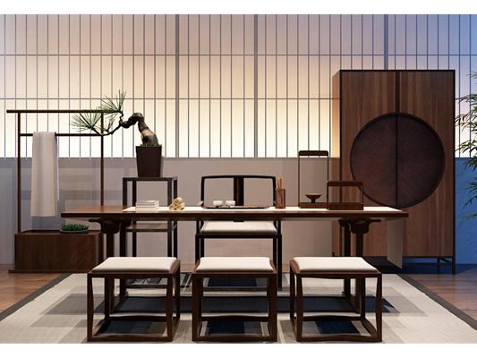 新中式书桌椅组合3D模型【ID:327899753】