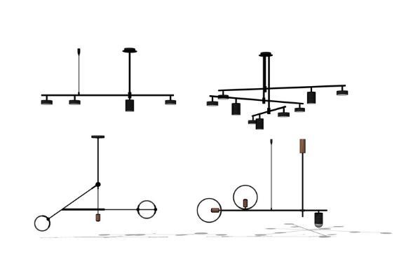 工業風吊燈組合SU模型【ID:345613807】