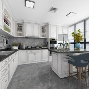 美式敞开式厨房吧台3D模型【ID:127776462】