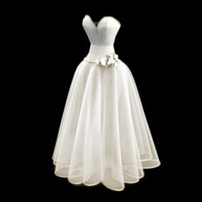 现代婚纱3D模型【ID:527796191】