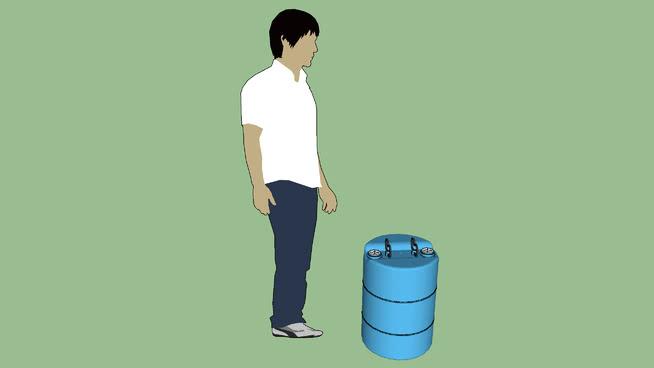 工业系列-容器-桶-聚-15加仑-封闭式HD-3型栓组-蓝色SU模型【ID:940035539】