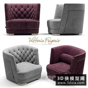 现代单人沙发国外3D模型【ID:729313665】