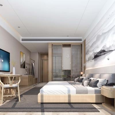 新中式酒店客房雙人房3D模型【ID:427796623】