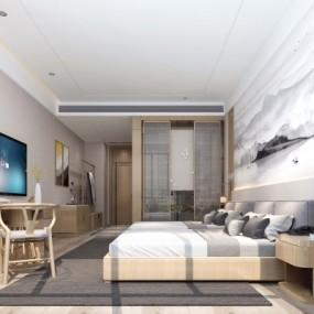 新中式酒店客房双人房3D模型【ID:427796623】