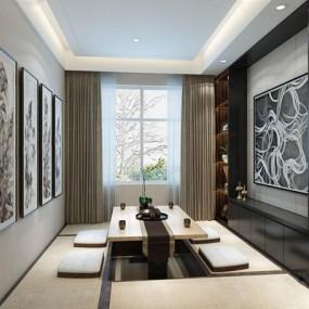 现代新中式茶室3D模型【ID:128181962】