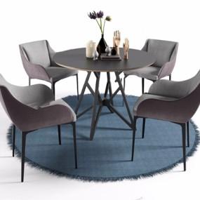 北欧圆桌椅餐具椅子组合3D模型【ID:327936618】