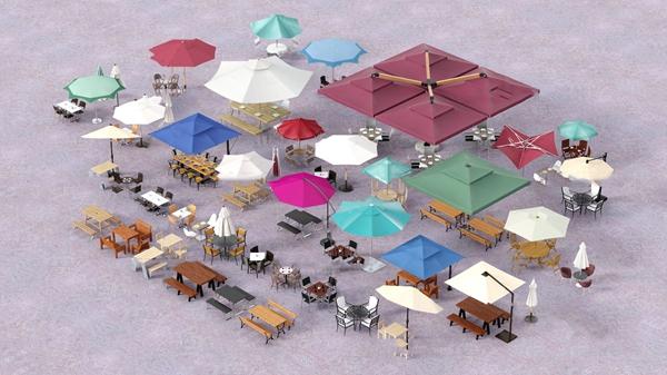 現代遮陽傘戶外桌椅3D模型【ID:747179538】