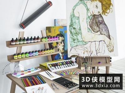 绘画工具组合国外3D模型【ID:229579098】