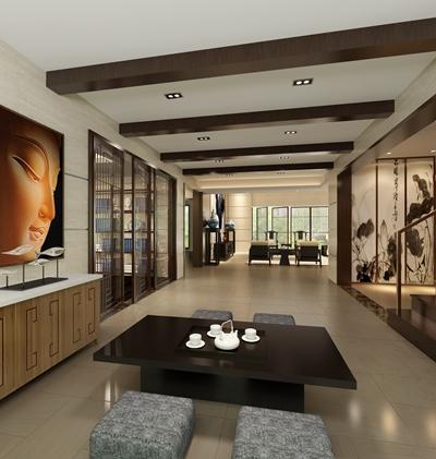 新中式休息室3D模型【ID:914929479】