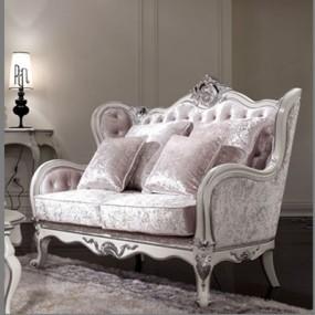 欧式新古典布艺双人沙发3D模型【ID:914935796】