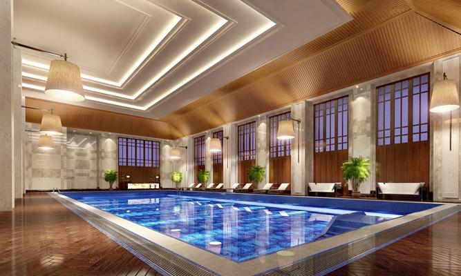 禅意中式游泳馆3D模型【ID:914938959】