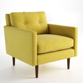 现代黄色布艺单人沙发3D模型【ID:914953684】