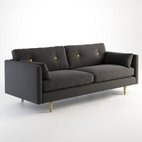 现代灰色布艺双人沙发3D模型【ID:914953769】