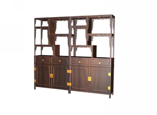 传统中式原木色木艺陈列柜3D模型【ID:914969202】