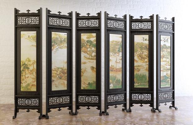 传统中式木艺折叠屏风3D模型【ID:914981559】