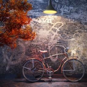红色自行车3D模型【ID:915001177】