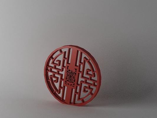 传统中式红色木艺隔断3D模型【ID:915031342】