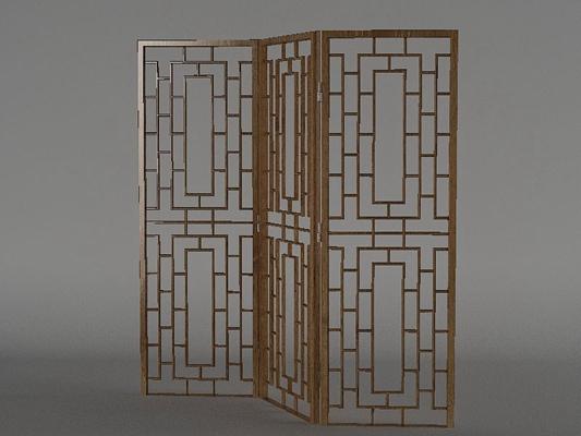 传统中式原木色木艺折叠屏风3D模型【ID:915031575】