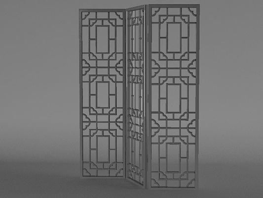 传统中式原木色木艺折叠屏风3D模型【ID:915031576】