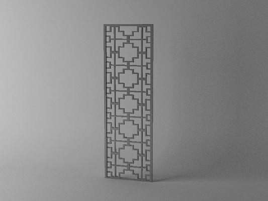 传统中式木艺镂空屏风3D模型【ID:915031624】