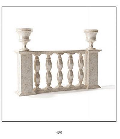 欧式简约白色大理石栏杆3D模型【ID:915036189】