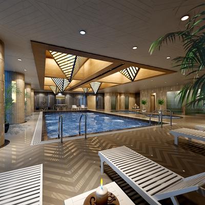现代游泳馆3D模型【ID:915060985】