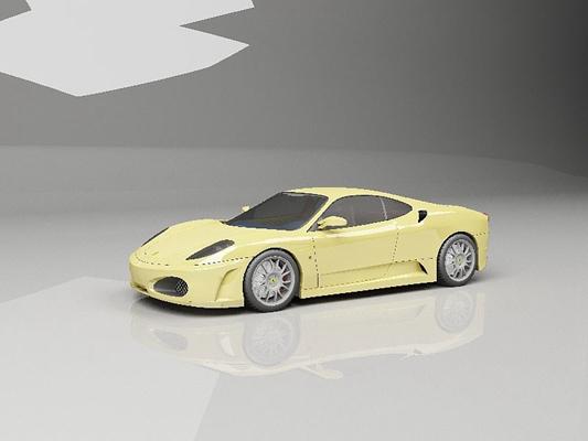黄色跑车3D模型【ID:915063918】