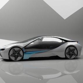 银色跑车3D模型【ID:915063919】