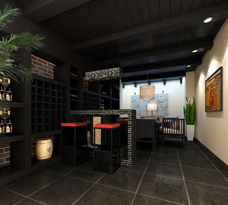 新中式休息室3D模型【ID:915079409】