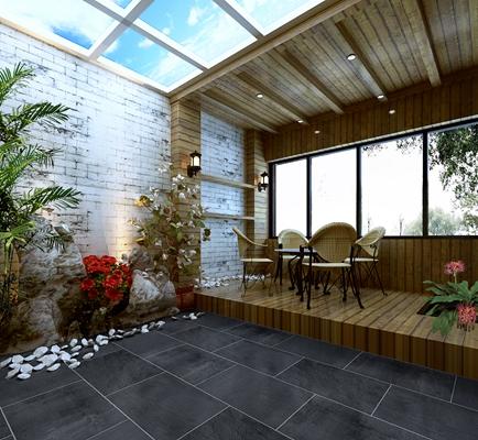 英式田园花园阳台3D模型【ID:915079924】