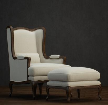 美式简约白色布艺皮质单人沙发3D模型【ID:915179626】