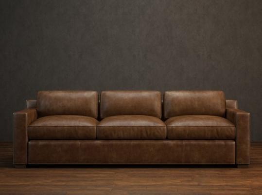 美式简约棕色皮质三人沙发3D模型【ID:915179869】