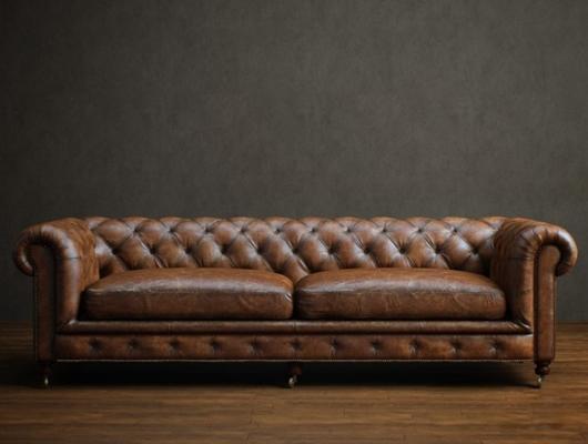 美式简约棕色皮质双人沙发3D模型【ID:915180706】
