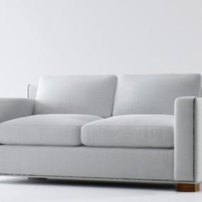 现代白色布艺双人沙发3D模型【ID:915180759】