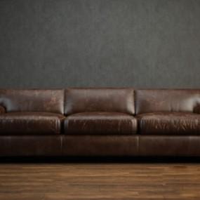 美式简约棕色皮质三人沙发3D模型【ID:915180803】