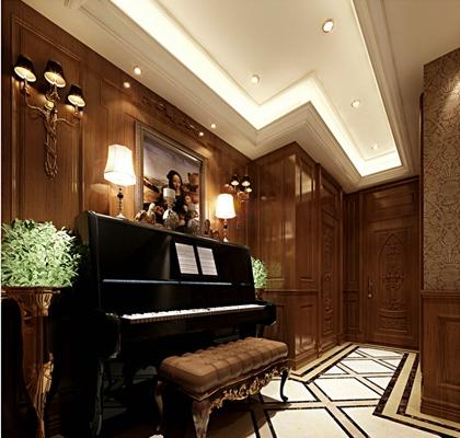 欧式古典钢琴房3D模型【ID:915201169】