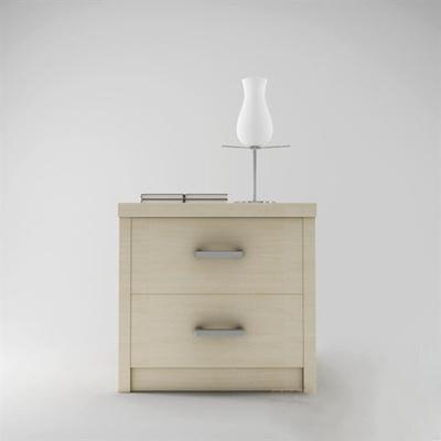 现代米色木艺床头柜3D模型【ID:915207633】