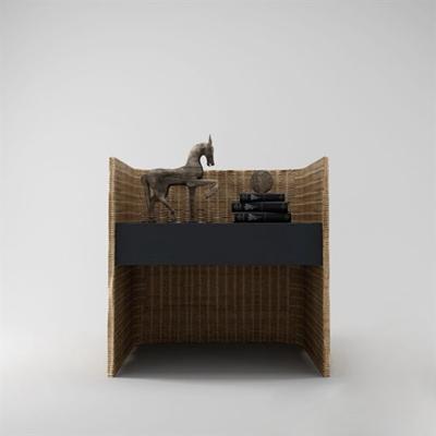東南亞原木色編織床頭柜3D模型【ID:915208637】
