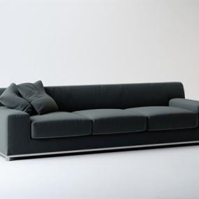 现代灰色布艺三人沙发3D模型【ID:915231811】