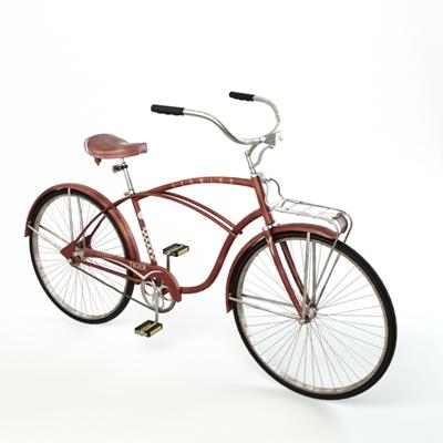 红色自行车3D模型【ID:915232172】