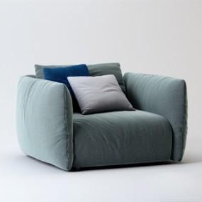 现代蓝色布艺单人沙发3D模型【ID:915234675】
