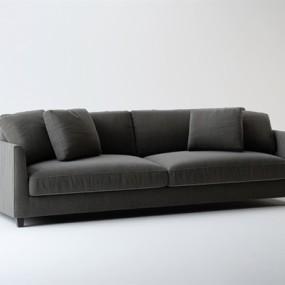 现代灰色布艺双人沙发3D模型【ID:915234785】