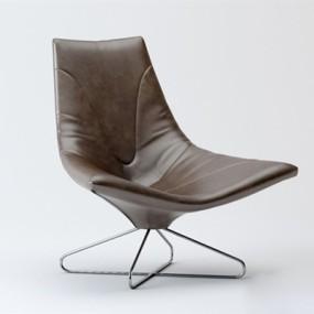 现代棕色皮质单人沙发3D模型【ID:915235620】