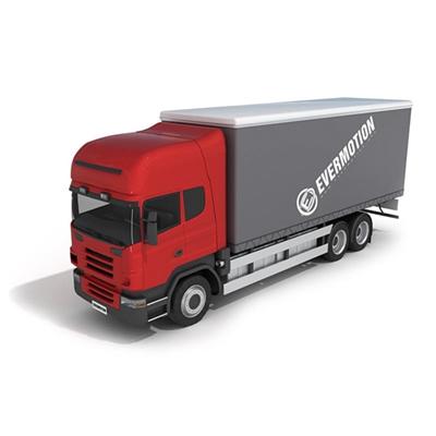红色货车3D模型【ID:915241492】