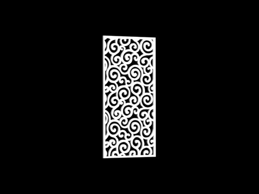 白色雕花隔断133D模型【ID:915261303】