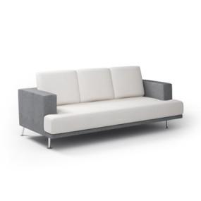 现代米色长方形布艺三人沙发3D模型【ID:915263895】