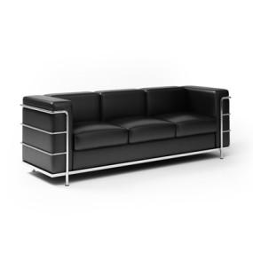 现代黑色长方形皮质三人沙发3D模型【ID:915265800】