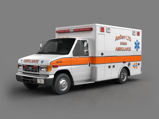 白色救护车3D模型【ID:915267178】